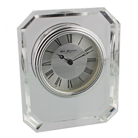 Square Shaped Glass Mantel Clock Silver Bezel - Roman Dial